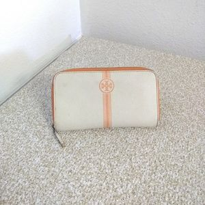 Tory Burch Ivory Orange Leather Wallet